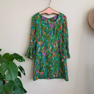 60's 70's psychedelic bell sleeve dress